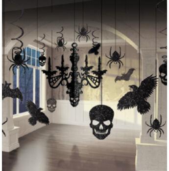 Függő Dekoráció - Halloween Csilláros Glitteres Szett - 17 Db-Os