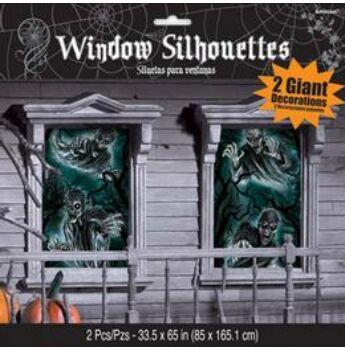 Halloween Ablakdekoráció - Rémisztő Kísértet - 165 cm x 85 cm, 2 db