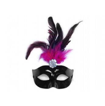 Fekete Szemálarc Pink - Fekete Tollakkal
