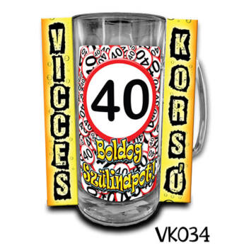Korsó - Vicces - Boldog 40. Szülinapot - 3dl