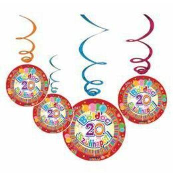 Színes Parti Függő Dekoráció - Boldog 20. Szülinapot