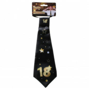 Nyakkendő - Arany - Fekete 18. Születésnapra, 32x11 Cm