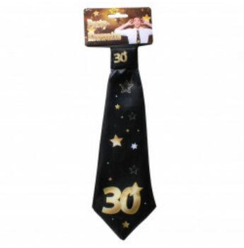 Születésnapi Nyakkendő Arany-Fekete 30. Születésnapra, 32x11 Cm