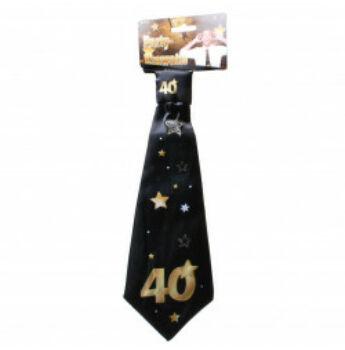 Születésnapi Nyakkendő Arany-Fekete 40. Születésnapra, 32x11 Cm