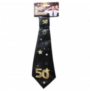 Születésnapi Nyakkendő Arany-Fekete 50. Születésnapra, 32x11 Cm