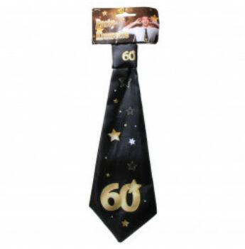 Születésnapi Nyakkendő Arany-Fekete 60. Születésnapra, 32x11 Cm
