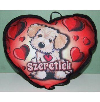 Díszpárna szív -  Világos kutya Szeretlek