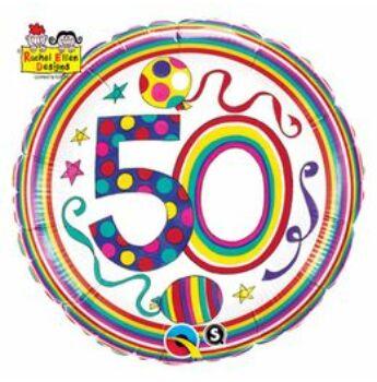 Számos Polka Dots And Stripes Szülinapi Fólia Lufi - 50 - 46 cm