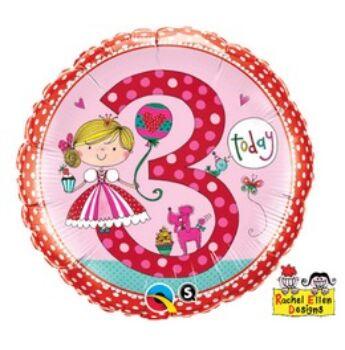 Fólia Lufi - Szülinapi Számos Rachel - 3 - lányos - 46 cm