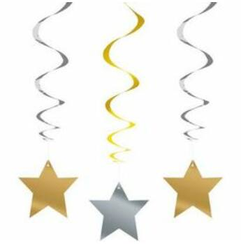 Függő dekoráció - Arany - Ezüst Csillag Spirális - 3 db-os
