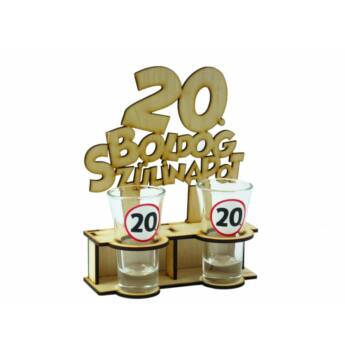 Pálinkás Pohár Szett - Boldog 20. Szülinapot 2db 5cl