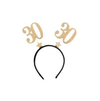 Születésnapi Fejdísz Arany Glitteres - 30-as