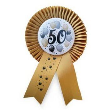 Elegáns Kitűző - Arany Szalagos 50-es Léggömbös
