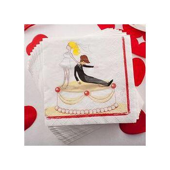 Szalvéta Lánybúcsúra - Vicces Esküvői Mintával, 20 db, 33 cm x 33 cm