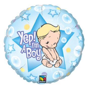 Fólia Lufi - Babaszületés - Fiú Vagyok - Yep! I Am A Boy Baby - 46cm