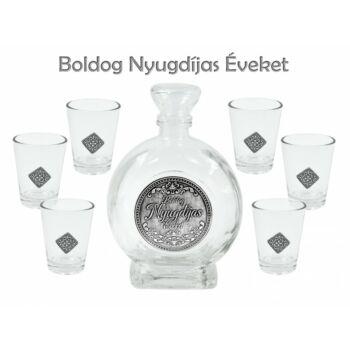 Pálinkás készlet - Boldog Nyugdíjas Éveket - 6db pohár + 0,5l palack