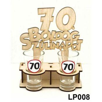 Pálinkás Pohár Szett - Boldog 70. Szülinapot 2db 5cl