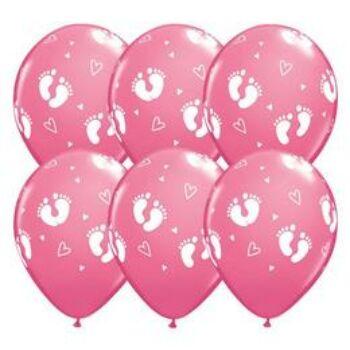 Gumi Lufi - Babaszületés - Lábnyom mintás Rózsaszín - 6db/csomag