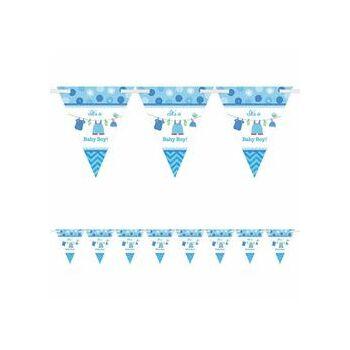 Zászlófüzér Babaszületésre - Shower With Love Kék - 4 m