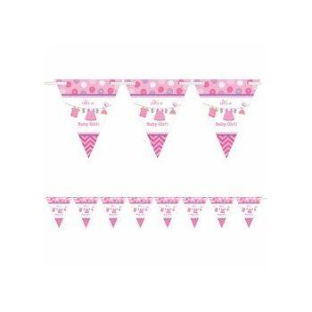 Zászlófüzér Babaszületésre - Shower With Love Rózsaszín - 4 m