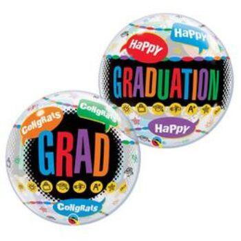 Buborék Lufi - Ballagás - Happy Graduation Congrats Grad - 56 cm
