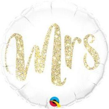 Fólia Lufi - Esküvő - Mrs. Feliratú Glitter Arany - 43 cm