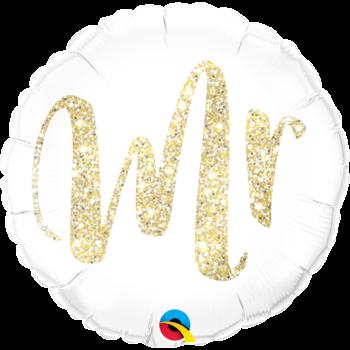Fólia Lufi - Esküvő - Mr. Feliratú Glitter Arany - 43 cm