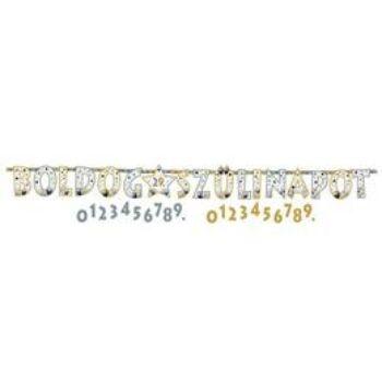 Parti felirat - Számozható Betűfüzér - Boldog Szülinapot! Elegáns Léggömbös - 2,4 m