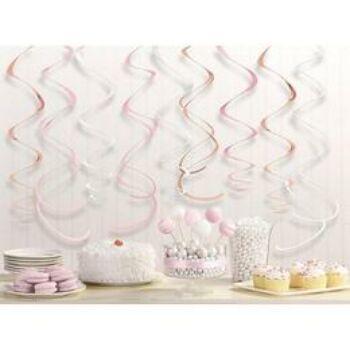 Függő Dekoráció - Rózsaarany-Pink-Fehér Vegyes Színű Spirális -12 db-os