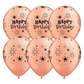 Gumi Lufi - Csomag - Szikrázó Csillagos Happy Birthday - Rózsaarany Gumi - 6 db, 28 cm