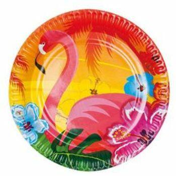 Papír Tányér - Flamingó Hawaii Mintás - 23 cm, 6 db-os