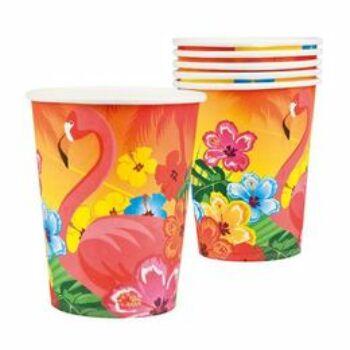 Papír Pohár - Flamingó Hawaii Mintás - 250 ml, 6 db-os