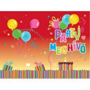 Party Meghívó és Boríték - 8 db-os