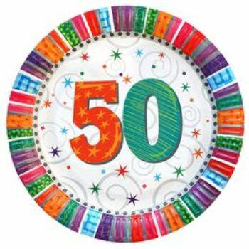 Papír tányér - Szülinapi Radiant - 50. - 6 db-os