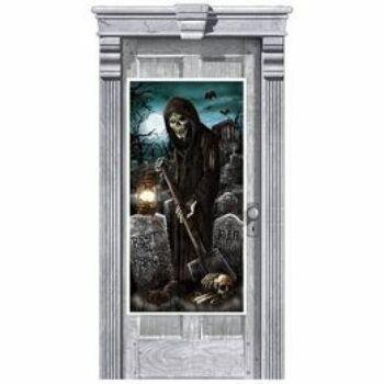 Halloween Ajtódekoráció - Sírásó Kaszás Temető - 165 x 85 cm