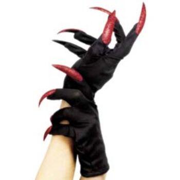 Fekete Kesztyű, Piros Glitteres Műkörmökkel