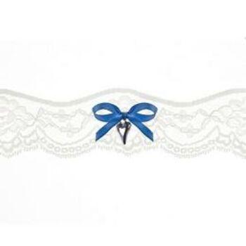 Harisnyakötő - Fehér Csipkés Szív Dísszel Esküvőre