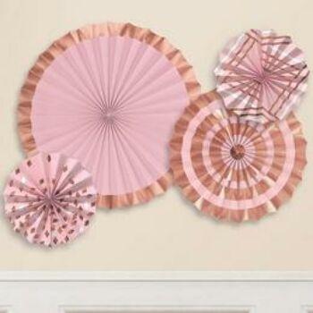Függő dekoráció szett - Elegáns Rózsaarany - Arany - Pink Legyezők - 4 db-os