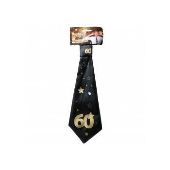 Nyakkendő - Arany - Fekete 60. Születésnapra, 32x11 Cm