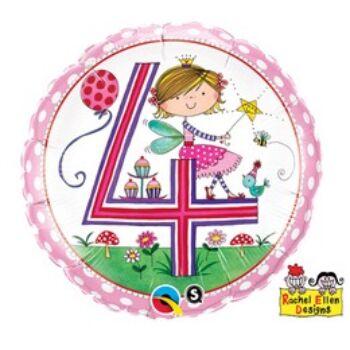 Fólia Lufi - Szülinapi Számos Rachel - 4 - lányos - 46 cm