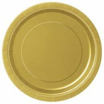 Papír Tányér - Egyszínű Arany 23 cm