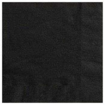 Egyszínű Szalvéta - Fekete - 33 cm x 33 cm, 20 db-os