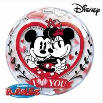 Buborék Lufi - Mickey & Minnie I Love You Szerelmes - 56cm