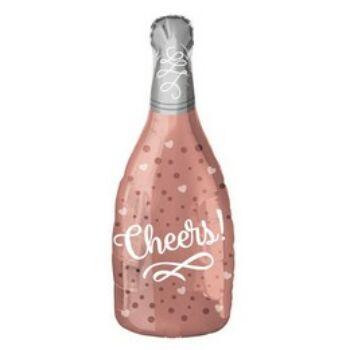 Fólia Lufi - Pezsgősüveg - Cheers Feliratú Rózsaszín - 66 cm