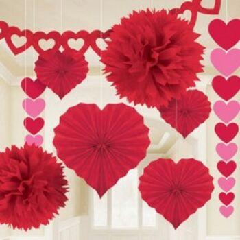 Dekorációs Szett - Valentin-napi Piros - 9 db-os